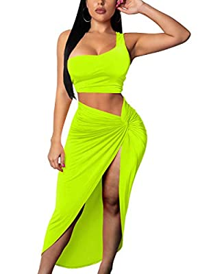 Tocebe Women's Sexy 2 Piece One Shoulder Crop Top Front Slit Ruched Midi Club Dress