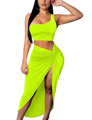Tocebe Women's Sexy 2 Piece One Shoulder Crop Top Front Slit Ruched Midi Club Dress, X-Large, Neon Yellow -