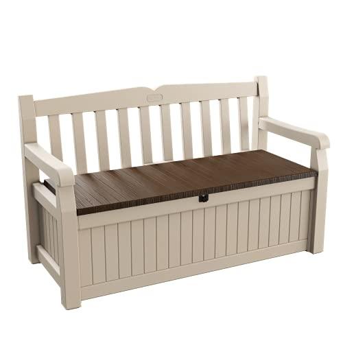 Keter Eden Garden Bench – Banco Arcón Exterior, Capacidad 265 L, Color Marrón y Beige