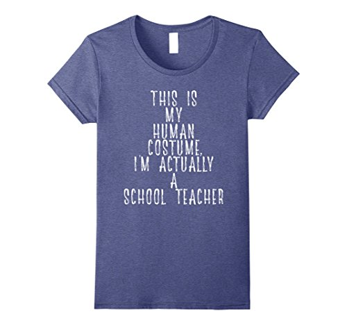 Back To School Party Costumes (Womens My Human Costume - Funny Back to School Teacher Gift Shirt Small Heather Blue)