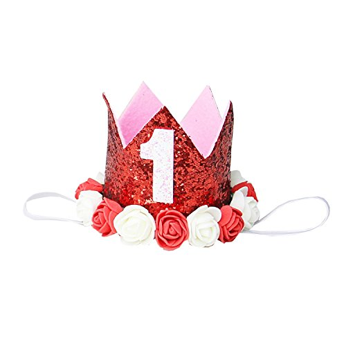 Kirei Sui Baby Red White Rosettes Crown Headband 1st Crown