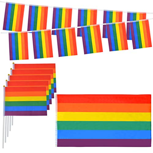 Miayon Gay Pride Rainbow Flags Set, 20pcs Small Hand Flag with Stick,16.4ft Rainbow Banners Bunting Flags and Large Flag with Pride Tattoos for Pride Parades Festival Party Decorations