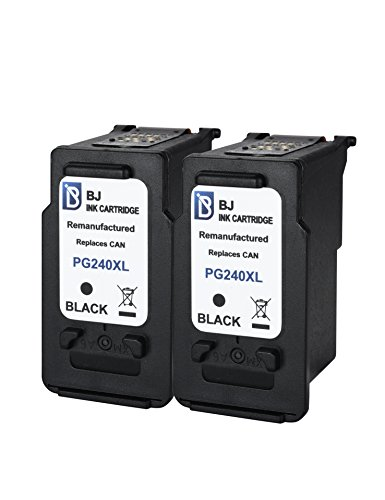 BJ Remanufactured Ink Cartridge (2 Black) Replacement for Canon PG-240XL 240 XL High Yield Compatible with Canon PIXMA MG2120 MG2220 MG3120 MG3220 MG4120 MG4220 MX372 MX432 MX512 MX522 MX532