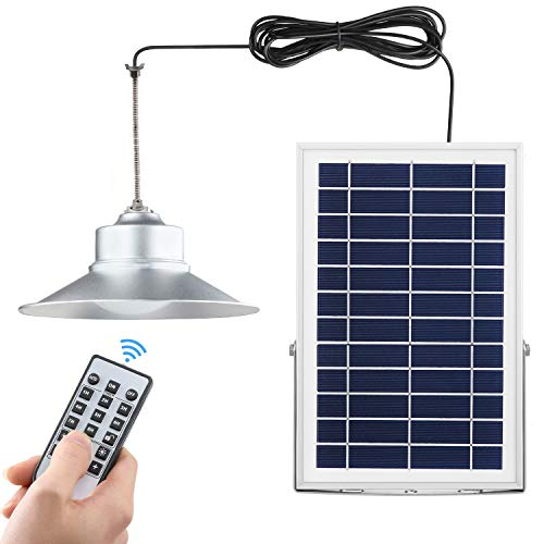 Solar Shed Lights Outdoor&Indoor with Long 26.2ft Extendable Cable Solar Barn Light with Remote Controller Solar LED Pendant/Ceiling Light for Garden,Yard,Patio Landscape (White led with Remote) ()