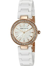 Women's AK/1986RGWT Swarovski Crystal Accented Rose Gold-Tone and White Ceramic Bracelet Watch