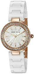 Anne Klein Women's AK/1986RGWT Swarovski Crystal Accented Rose Gold-Tone and White Ceramic Bracelet Watch