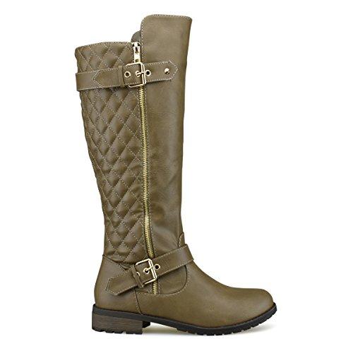 Knee High Heel Women's Knee Riding Zip High Standard Shoe Premier Boot Side High Flat Boots Quilted Easy Premier Pu Taupe Sexy Heel wqxX56UZ