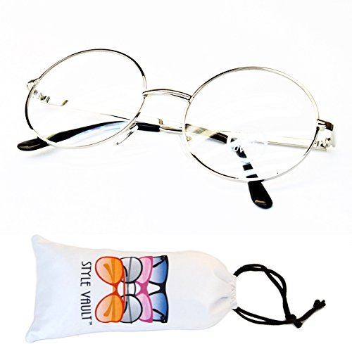 [V3103-vp Style Vault Clear Lens Round Eyeglasses Glasses Sunglasses (B3268F silver-clear, UV400)] (1950s Geek Costume)