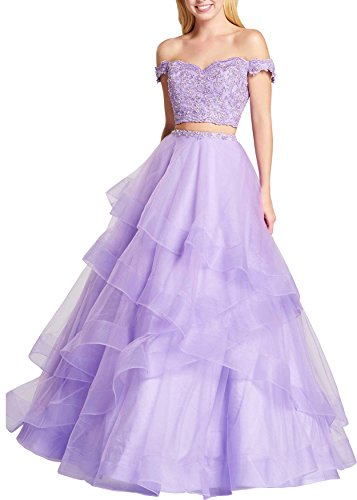 Beauty Bridal Off The Shoulder Two Piece Prom Dresses Asymmetric Layered Evening Party Gowns S061 S061 (26W,Lilac)