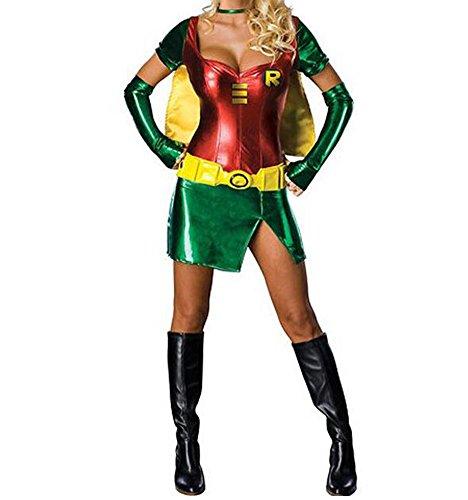 Passionatelove Women Superwoman Uniform Party Down Girls Costume Cosplay Lingerie S Green (Superwoman Costumes For Girls)