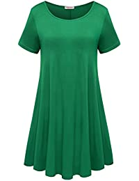 Womens Comfy Swing Tunic Short Sleeve Solid T-Shirt Dress