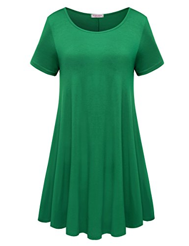 BELAROI Womens Comfy Swing Tunic Short Sleeve Solid T-Shirt Dress (2X, Forest Green) -
