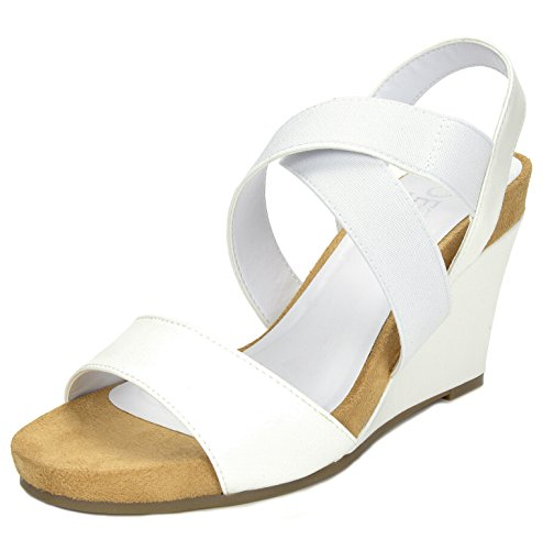 9f27d943330e Galleon - TOETOS Women s SOLSOFT-8 White Mid Heel Platform Wedges Sandals -  8 M US