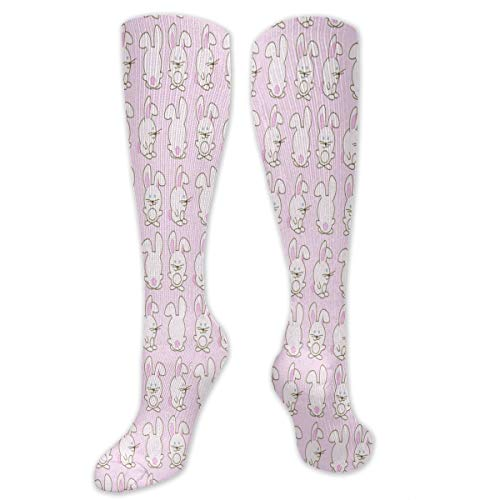 Stretch Socks Pink Bunny Pattern Special Winter Warmth for Women & Men Athletic Sports ()