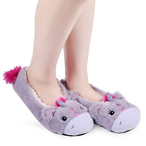 Panda Bros Womens Slipper Socks Low Cut Super Soft Warm Home Sock with Non-Slip Indoor Slipper Shoes Socks(gray unicorn,5-7.5)