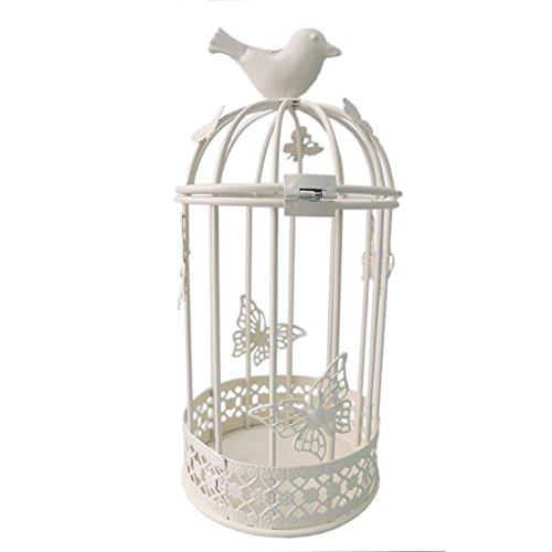 JAROWN Metal Birdcage Decorative Tealight Candle Holder Lanterns Candlesticks Home Wedding Table Desk Decor (White) ()