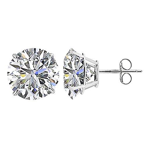 14K White Gold Created White Sapphire Stud Earrings, 6mm