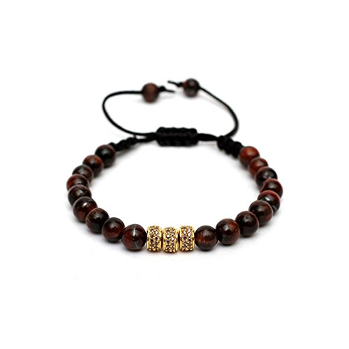 Macrame Drawstring Styled Lux Cubic Zirconia Studded Bracelet in 925 Sterling Silver   Beaded with healing polished Red Tiger Eye beads in 6mm size   Encrusted with Brown Cubic Zirconia (Sterling Tigers Eye Bead Bracelet)
