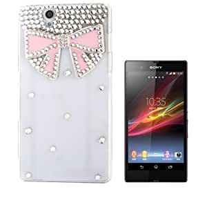 3D Bowknot Pattern Diamond Encrusted Transparent Plastic Case for Sony Xperia Z / L36h / Yuga C6603