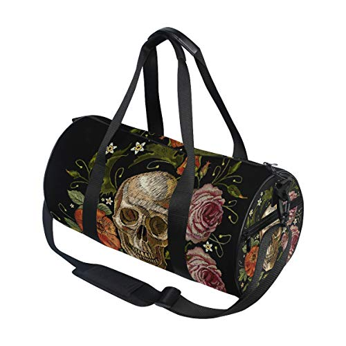 WIHVE Gym Duffle Bag, Embroidery Gothic Skull Red Roses Peonies Swim Sports Travel Gym Bag for Men Women