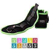 Ankle / Wrist Weight Pair by Day 1 Fitness- 10 Weight Options - 0.5 to 10 lbs EACH, Set of 2, Adjustable Straps - Breathable, Moisture Absorbent Weight Straps for Men and Women - Comfortable Weights