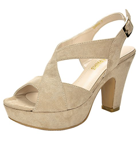 Platforms Mid Heel (DREAM PAIRS Women's Vanka Beige Mid Heel Platform Pump Sandals - 9.5 M US)