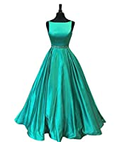 Staypretty Beaded Long Prom Dresses with Pockets Satin A-line Evening Formal Gowns for Women