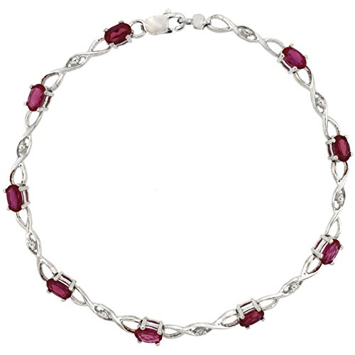 10k White Gold Braided Loop Tennis Bracelet 0.05 ct Diamonds & 2.25 ct Oval Created Ruby, 1/8 inch (10k Gold Ruby Bracelet)