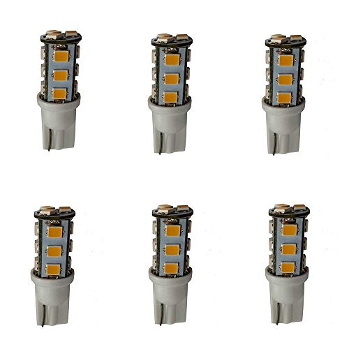 Leelands T5 Wedge led Bulb 12V AC/DC,Equivalent to 7Watt Halogen Bulb Warm White,for Under Cabinet Lights Outdoor Landscape Area Path Lighting 6-Pack 7 Watt Tier Light