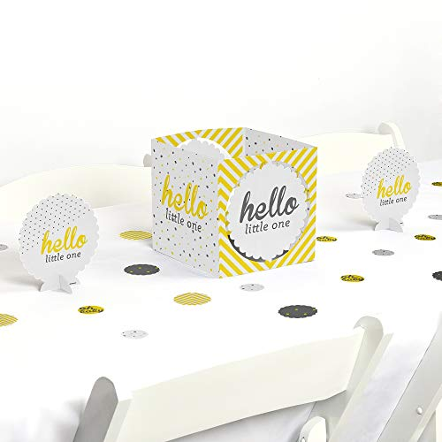 Big Dot of Happiness Hello Little One - Yellow and Gray - Neutral Baby Shower Centerpiece & Table Decoration -