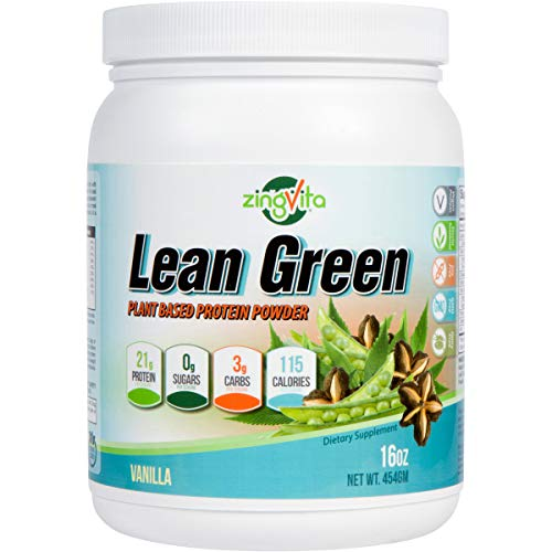 Lean Green Plant Based Vegan Protein Powder - Natural Vegetarian High Protein Blend - Non-GMO, Gluten Free, Dairy Free Protein Shake Powder - Sugar Free & Delicious Vanilla Flavor - 16 Oz
