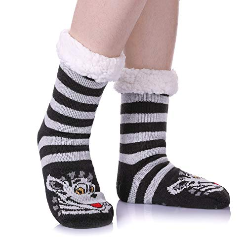 Womens Sherpa Winter Fleece Lining Knit Animal Socks Non Slip Warm Fuzzy Cozy Slipper Socks Zebra (Zebra Girls Dress)