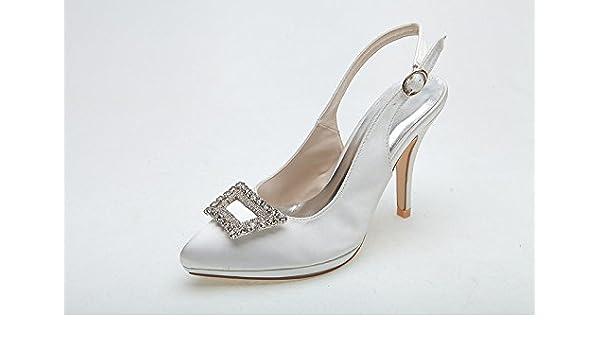 RUGAI-UE Women Heel Pump Shoes Sandal Diamond Deduction Slingback, White, US6.5-7/EU37/UK4.5-5
