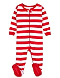 Leveret Kids Red & White Striped Baby Boys Girls Footed Pajamas Sleeper Christmas Pjs 100% Cotton (Size 12-18 Months)
