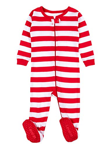 Leveret Kids Red & White Striped Baby Boys Girls Footed Pajamas Sleeper Christmas Pjs 100% Cotton (Size 6-12 Months)]()