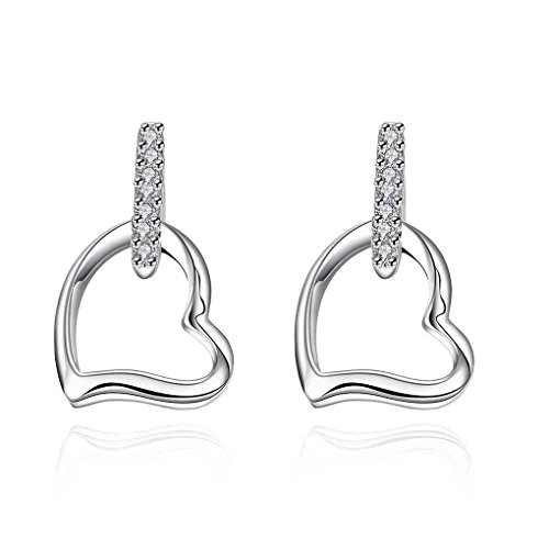 fonk: Gorgeous silver earrings for women Heart-shaped stud brinco accessories SMTE731