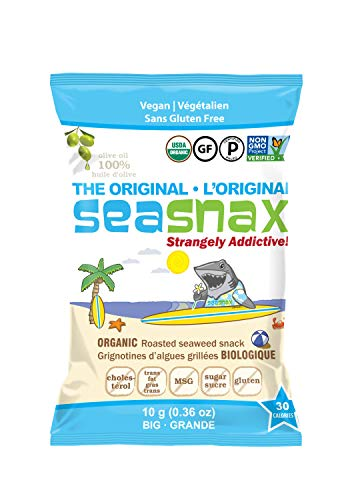 SeaSnax Organic Roasted Seaweed Snack Original, 0.36 oz (Pack of 12)