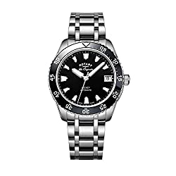 Rotary Watches Ladies Swiss Legacy Dive Black Dial Stainless Steel Bracelet Watch LB90168/04