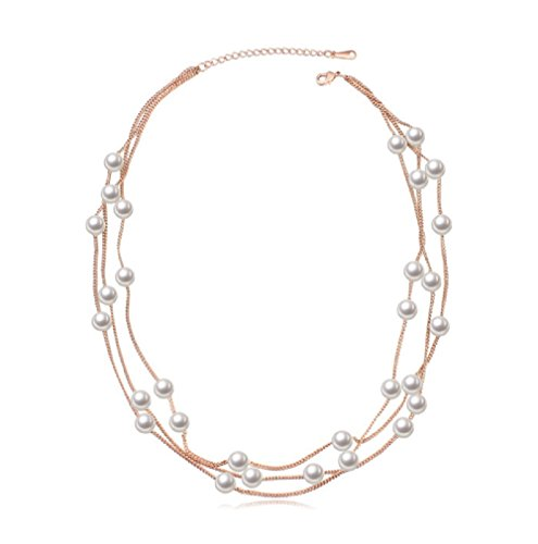 Multi Strand Necklace with Swarovski Crystal White Simulated Pearls 18 ct Rose Gold Plated for Women 18