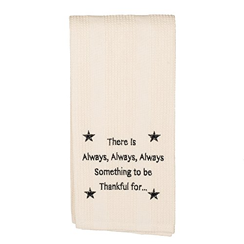 Always Something to be Thankful 19 x 28 All Cotton Embroidered Waffle Kitchen Towel