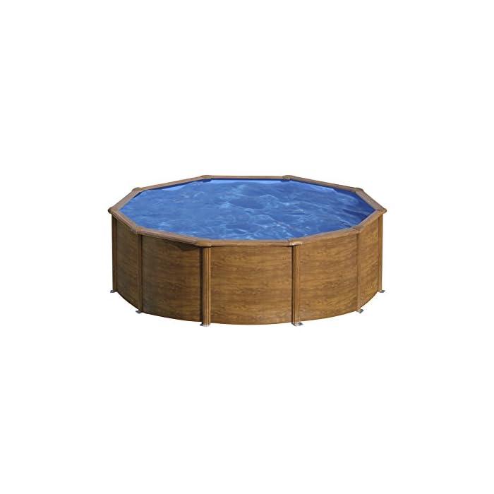 Piscina desmontable redonda de pared de acero con decoración de aspecto de madera, de 300 x 120 cm (Diámetro x Alto) Con filtro de cartucho de 3,8 m³/h Incluye escalera de seguridad con tres peldaños por cada lado