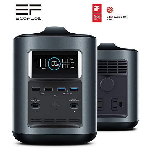 EF ECOFLOW River 370 Portable Power Station Generator 370Wh 100000mAh High Capacity 500W Output Max Bidirectional PD Type-C Input/Output Emergency Power Supply Quiet Rechargeable 9 Charging Ports ()