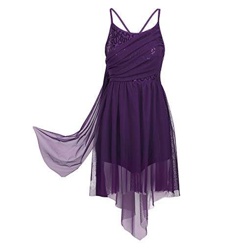 Agoky Womens Adult Sequined Leotard Lyrical Ballet Dance Dress High Low Skirt Criss Cross Back Dance Costume Purple Large
