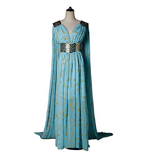 (Xfang Women's Chiffon Dress Halloween Cosplay Costume Blue Long Train)