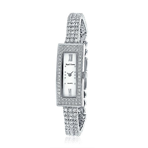 (Bling Jewelry Long Rectangle MOP Dial 3 Row CZ Bridal Watch Rhodium Plated)