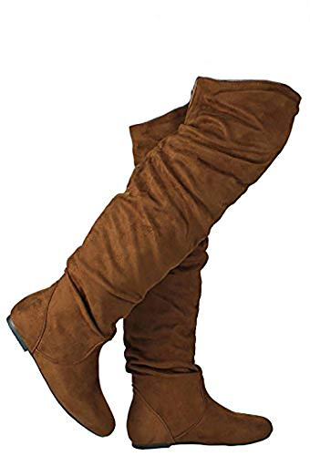 - JJF Shoes Women V-HI Camel Fashion Slouchy Round Toe Faux Suede Slanted Cuff Over The Knee Flat Boots-10