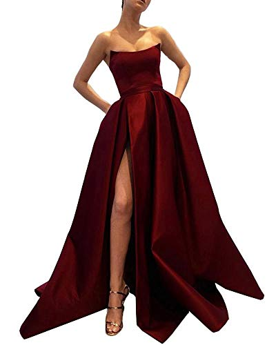 Size Long Dress Sleeveless Ball Womens Slit 18 Prom Burgundy Strapless Evening Pockets Satin Beauty Ever With Plus Gown uKcTFlJ31