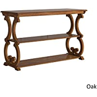 TRIBECCA HOME Lorraine Wood Scroll TV Stand Sofa Table (Oak)