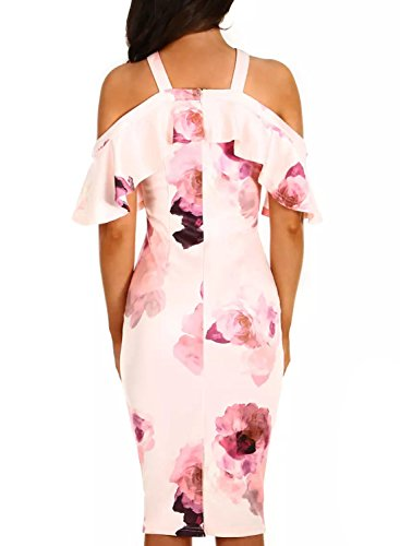 XL AlvaQ Bodycon Sleeve 8 Colors Midi S Pink Dress Cold Ruffle Women Shoulder XqgZrwXP