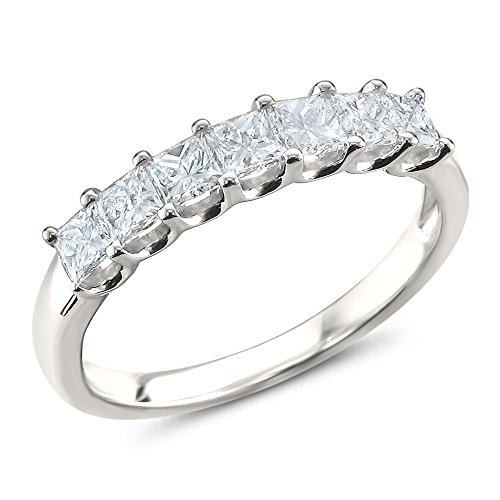 La4ve Diamonds Platinum 7-Stone Princess-Cut Diamond Bridal Wedding Band Ring (1 cttw, H-I, SI1-SI2), Size 7